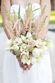 astilbe, grasses, scabiosa pods and blushing bride protea