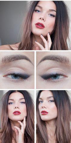 hair colors, linda hallberg, eye makeup, cat eyes, lip color, red lips, daily makeup, beauti, eye liner