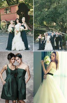 vestiti da sposa e da damigella per un matrimonio dark green(verde)