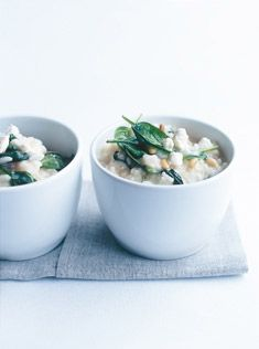 spinach, fetta and pine nut baked risotto