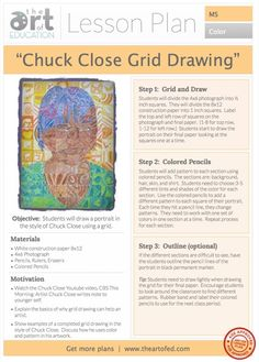 Click to Download Free Lesson Plan: Chuck Close Grid Drawing.