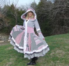 Elf Coat Misty Shores Gray Pink and White size by JanellyArts, $395.00