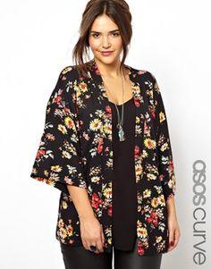 ASOS CURVE Exclusive Kimono In New Floral Print