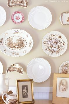 What is it about plates on a wall... love! Vintage Dishes Collection The Lettered Cottage