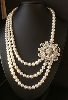 rhinestone pearl necklace