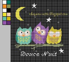 Three owls free cross stitch pattern