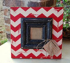 Chevron Picture Frame in Red and Vintage White, with Large Vintage Black Trim, Picture Size is 4x4, Total Size 16x16 on Etsy, $65.00