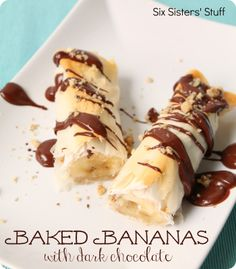 Baked Bananas with Dark Chocolate from sixsistersstuff.com.  A delicious treat you don't have to feel too guilty about! #recipes #dessert #banana