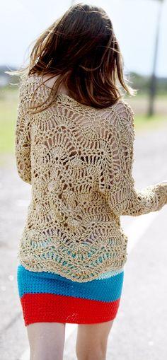 sweater calado metalizado dorado — de las bolivianas