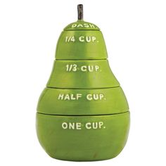 pear measur, food, measur cup, green pear, cup set, measuring cups