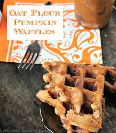 Oat Flour Pumpkin Waffles, Df, GF Shows substitutions for eggs using either flax or chia seeds for Vegan option