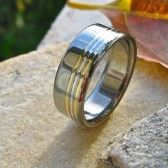 titanium wedding band with striping by TiRings