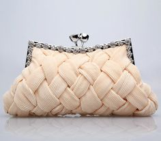 Grid Amazing Satin Rhinestones Twist Lock with Inside Slip Pocket Clutch