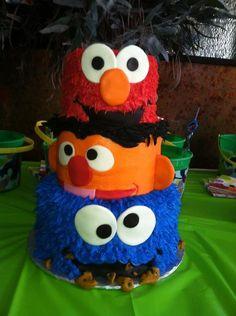 Elmo ernie cookie monster cake... SO CUTE for kids birthday cakes sesame street, birthday idea, kids cakes, sesam street, kid birthdays, 1st birthdays, cookie monster cake, monster cakes, kid cakes