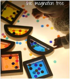 sensory tubs, holiday lights, string lights, sensori play, light box