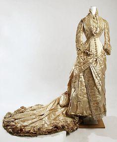 Ivory Silk Wedding Gown, American, 1880.