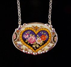 Oval broken china jewelry pendant necklace antique china rose and flowers in heart