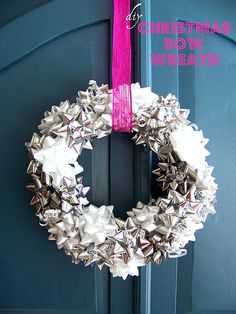 Hi Sugarplum | Metallic Bow Wreath, simple and inexpensive...post gives sources for cheap wreath form!