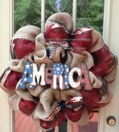 Americana Burlap and Mesh Patriotic America Wreath, USA, July 4th Wreath, Labor Day, Memorial Day, Red White Blue Wreath, via Etsy