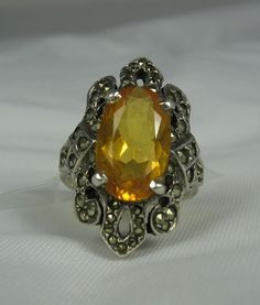 Vintage Citrine Glass Marcasite Ring 6 Sterling by TheFashionDen, $45.00