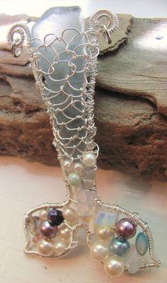Mermaid pendant beach sea glass blue sterling silver by StudioPMR, $69.50