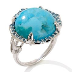 VERY AFFORDABLE!  Rarities: Fine Jewelry with Carol Brodie - Turquoise and London Blue Topaz Sterling Silver Ring