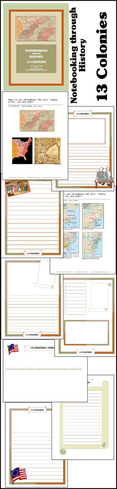 Notebooking through History: 13 Colonies @ http://www.christianhomeschoolhub.spruz.com/teaching-methods---lapbooking-notebooking-etc.htm