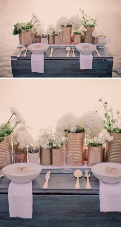 table settings, white flowers, centerpiec, paint cans, rustic table, coffee cans, tin can crafts, tin cans, spray painting