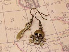 Pirate Earrings - Sword Skull & Crossbone Earrings - Mismatched Earrings - Costume