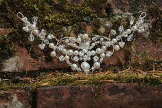 Flourish hair vine £80 @ www.lolaandi.co.uk . A beautiful hair vine made with fresh water pearls, and swarovski crystals. Perfect for #weddinghair .