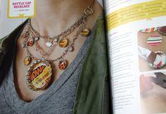 mod podge bottle cap necklace (with Dimensional Magic)