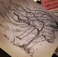 Watercolor willow tree tattoo
