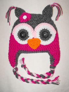 crochet owl  hat baby to adult sizes by VioletandSassafras on Etsy, $24.00