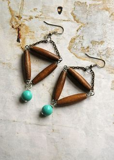 Love these wooden-triangle earrings!!!!  #wood #bead #turquoise #silver #earrings #handmade #etsy