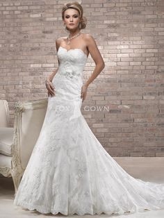 fit and flare lace wedding gown with soft sweetheart neckline