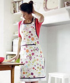 Floral Apron DIY by Woman's Day: A pretty pinafore with a pocket. #Apron #DIY #Woman's Day