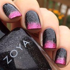 nail designs black and pink, black pink nails, sparkle nails, nail arts, glitter nails, black nails, nail idea, pink and black nail designs, new years