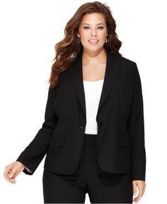 INC International Concepts Plus Size One-Button Blazer - Plus Size Jackets & Blazers - Plus Sizes - Macy's