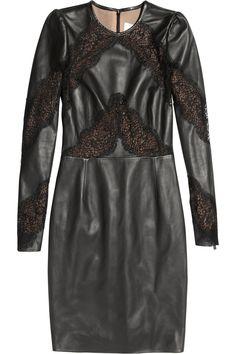 Valentino|Lace-paneled leather dress |NET-A-PORTER.COM