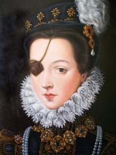 Ana de Mendoza y de la Cerda, Princesa de Eboli - a member of the Spanish Aristocracy in the 16th century. Despite having lost one of her eyes in a fencing accident as a teen, she was considered to be one of the most beautiful women in all of Spain.