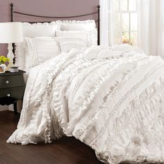 Belle King Comforter Set in White.