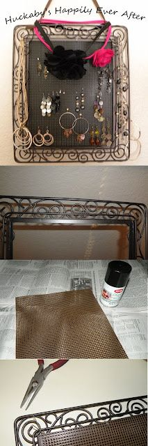 Jewelry Holder out of Picture Frame. Shows step-by-step how to make this cute yet functional holder. I LOVE mine!