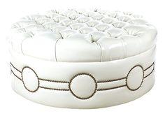 Huge Hollywood Regency White Tufted Ottoman | Vintage Style Lounge
