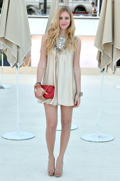 CHIARA FERRAGNI NUDE OPENTOE SHOES (available IN THESE STORES and soon ONLINE HERE)  ELISABETTA FRANCHI/CELYN B. DRESS  CHOPARD RING  HERMES WATCH  MIU MIU BANGLE  CHANEL MINI 2.55 RED  may