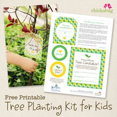 FREE! Printable tree planting kit for kids. A very cool idea! By @Heather - Chickabug
