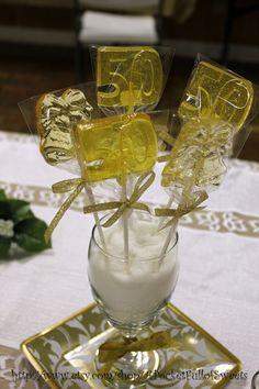 50th WEDDING ANNIVERSARY Barley Sugar Hard Candy Lollipops Suckers ...
