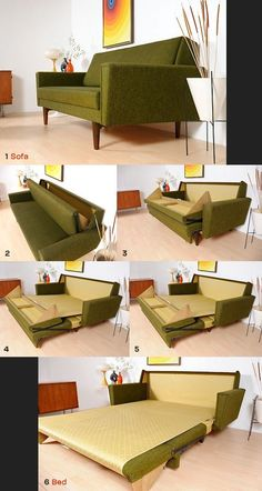 Mid-century modern sofa beds are rarely big enough to sleep two. This one does it gracefully, without bulk or clumsy contraption. The brilliant mechanism is worth documenting in itself. 1968 danish sleeper sofa
