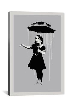 Banksy Nola Girl With Umbrella 12in x 18in Canvas Print