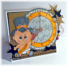 Great new years card. Celebration clock and Little Dumpling new year boy from www.digitaldelightsbyloubyloo.com