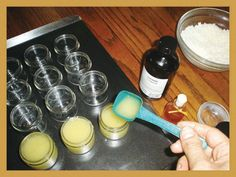 "Every Beekeepers Simple Lip Balm Recipe excerpted from ""HONEYBEE Lessons From An Accidental Beekeeper"":      1 oz. beeswax   5 oz. extra-virgin olive oil   5 drops of honey   2-3 drops honey essential oil      Melt beeswax and oil in double boiler until clear. Add EO and pour into tins. Never melt beeswax over a direct flame.  http://www.redbee.com/"